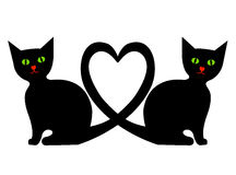 Cats with heart Stock Image
