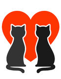 Cats with heart. Two cats silhouettes with big red heart Royalty Free Stock Photo