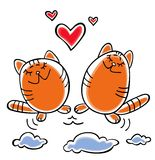 Cats and hearts Royalty Free Stock Image