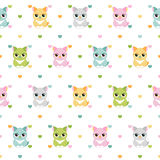 Cats and hearts children seamless pattern Royalty Free Stock Photo