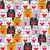 Cats with hearts in hands seamless vector pattern Stock Images