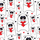 Cats with hearts in hands seamless vector pattern. Stock Images