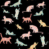 Cats and hearts, seamless pattern Royalty Free Stock Photo
