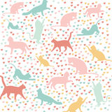 Cats and hearts, seamless pattern Royalty Free Stock Images
