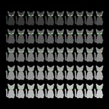 50 cats. Home pet Gray shades set. Vector illustration.  Royalty Free Stock Photography