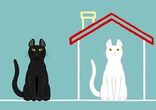 Cats in house and out of house Stock Image