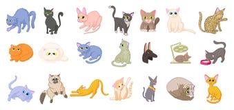 Cats icon set, cartoon style Royalty Free Stock Photo