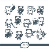 Cats Icons 12 Symbols Set: fast food Royalty Free Stock Photography