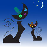 Cats illustration. Black silhouette Royalty Free Stock Images