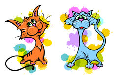 Cats illustration. Cute cat vector illustration series Royalty Free Stock Images