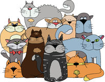 Cats. Illustration - group of different cats stock illustration