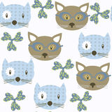 Cats  kids  seamless pattern. It is located in swatch menu,  image. Bright illustration. Colorful image for design. Cute pic Royalty Free Stock Image