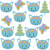 Cats  kids  seamless pattern. It is located in swatch menu, vect Stock Images