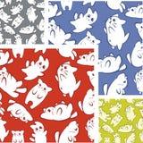 Cats and kittens - seamless pattern set. Stock Image