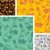 Cats and kittens - seamless pattern set. Royalty Free Stock Images