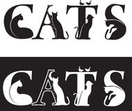Cats-letters. Black and white silhouette Royalty Free Stock Image