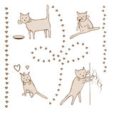 Cats Life Comic Sketch Stock Images