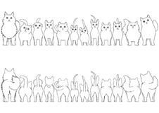 Cats line art border set. From front view and rear view stock illustration