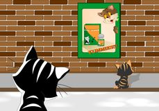 Cats looking at a poster, cdr vector Royalty Free Stock Image