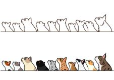 Cats looking up profile border set. Various cats looking up profile in a row, with and without colors stock illustration