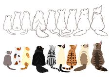 Cats looking up sideways in a row. Set of with colors and monochrome line art royalty free illustration