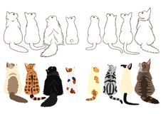 Cats looking up sideways in two rows. Set of with colors and monochrome line art royalty free illustration