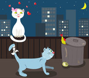 Cats in love. Vector illustration: night on the town, two cats have romantic adventure Royalty Free Stock Photography