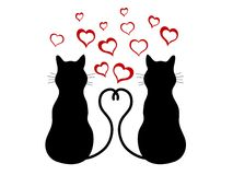 Cats in love. Silhouettes of two cats in love  -  illustration Royalty Free Stock Photo