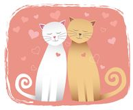 Cats in love. Cats - a girl and a boy - in love with a heart-shape background Royalty Free Stock Photography
