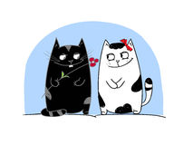 Cats love. Cat lovers with a flower Stock Image