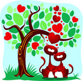 Cats in love. Two cute cats lovers, stylized illustration Royalty Free Stock Images