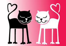 Cats in love. Black and white cats.Heart-shaped tails.St Valentine's Day. Vector illustration Royalty Free Stock Image