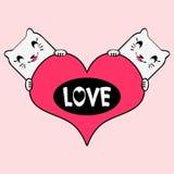 Cats in love. Romantic illustration cats in love stock illustration