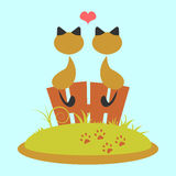 Cats in love. Cat couple sitting on the fence stock illustration