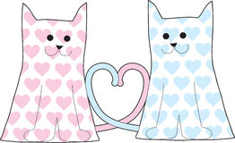 Cats in Love. Two outlines of smiling cats with tails entwined into a heart shape, are patterned with blue and pink hearts Stock Photography