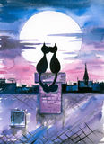 Cats in love. Two cats in love sitting  on roof and looking on moon.Picture I have painted by myself with watercolors Stock Photos