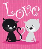 Cats in love. Illustration of two cats: white and black Stock Image