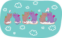 Cats in love. Cat-angels in love cartoon illustration Stock Photography