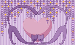 Cats in Love. Abstract background with two cats in love Stock Image