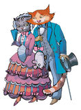 Cats_love EPS. Cartoon: cat-gentlman makes the present to cat-lady. they are dressing by victorian-age stile Stock Photography