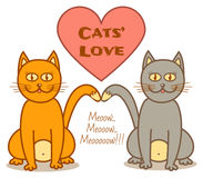 Cats love. Grey and ginger cat in love sitting together Royalty Free Stock Photo