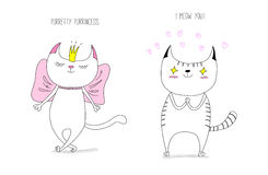 Cats in love. Hand drawn vector doodles of cute funny cats - cat princess in a crown with a bow and cat in love with hearts, with text. unfilled outlines. Design stock illustration