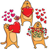 Cats in Love with heart. Red cats in Love with heart Stock Images