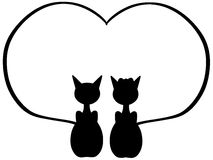 black Cats in love isolated Royalty Free Stock Photos