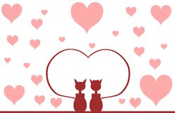 Cats in love with hearts Stock Photography