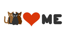 Cats love me. Heart and pets. Logo for cats owner and animal lov Stock Images