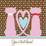Cats in love romantic card Royalty Free Stock Image