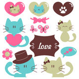 Cats in love romantic set Stock Photo