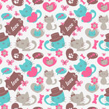 Cats in love seamless pattern Stock Photos