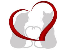 Cats in love. Silhouettes of two cats in love  - vector illustration Stock Photos